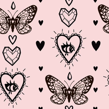 mystical witch vector pattern with hearts, butterflies and heart gem
