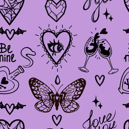 vector mystical purple love witchs seamless pattern for valentines day 矢量图像