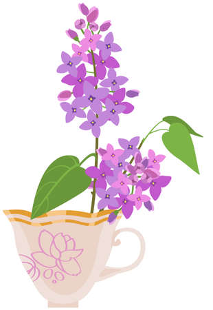 vector image of a branch of blooming lilacs in a tea cup