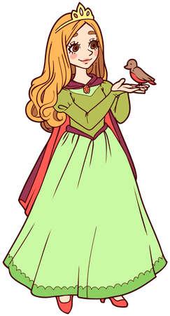 vector image of cute cartoon princess in green dress with bird