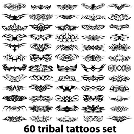 ornamental scroll: 60 various tribal tattoos