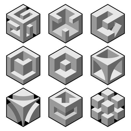 abstract 3d cubic design elements  Vector