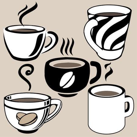 hot chocolate drink: tazas de caf� configurar Vectores