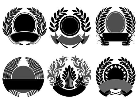 black laurel and wreath set Vector