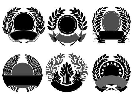 blasone: nero, alloro e set corona Vettoriali