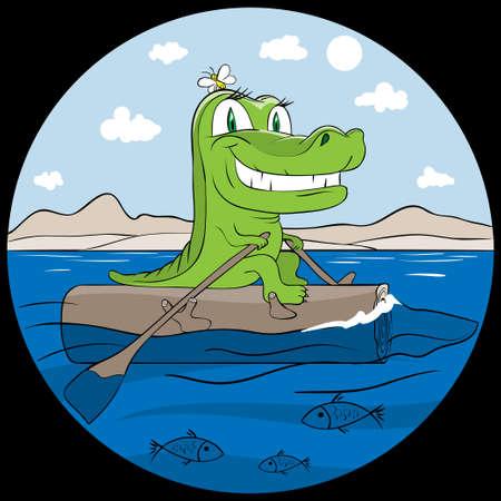 oar: smiling crocodile traveling in sea sitting on log