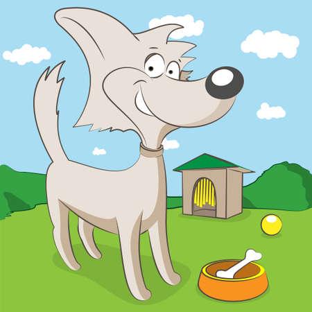 pooch: cheerful dog Illustration