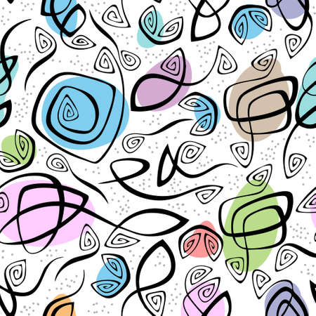 design floral: chaotic lines and color spots seamless pattern Illustration