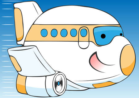 depart: cheerful cartoon airplane vector illustration