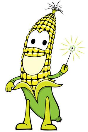 planta de maiz: carácter de maíz alegre celebración de una varita mágica Vectores