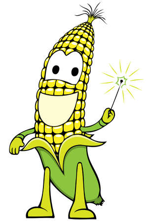 corncob: cheerful corn character holding a magic-wand