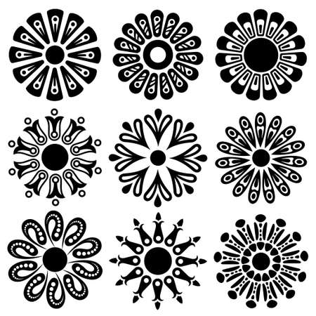flowery shapes set Vector