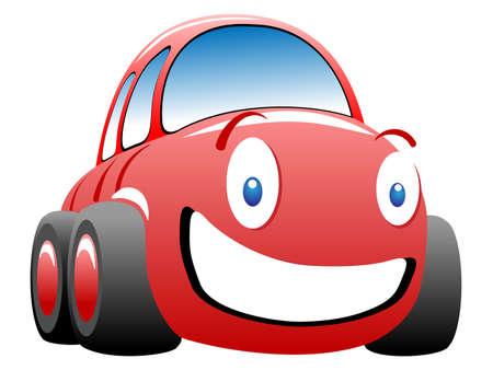 幸せな漫画のおもちゃの車 ベクターイラストレーション