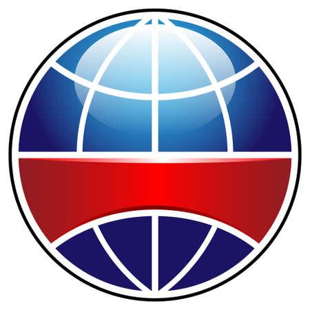 shiny metal: globe sign with ribbon Illustration