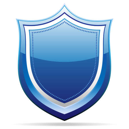 glossy blue metallic badge Stock Vector - 13481483
