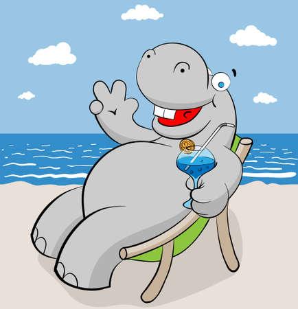 cartoon hippo: hippo