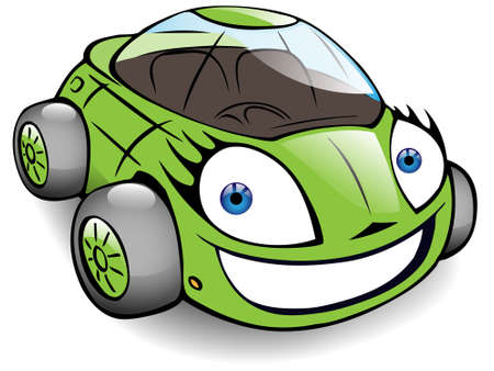 cheerful green toy car