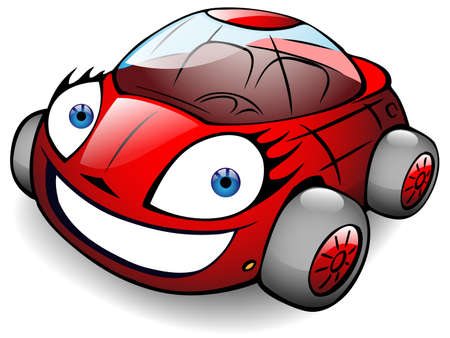 electric motor: cheerful red toy car