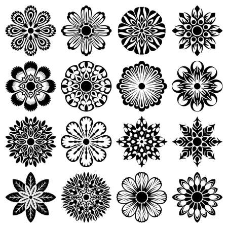 various abstract flowers set