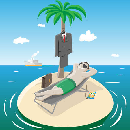 alone man: idle vacation on little island