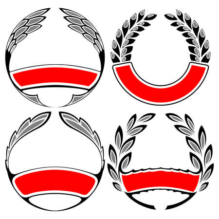 laurel and wreath set vector illustration Vector