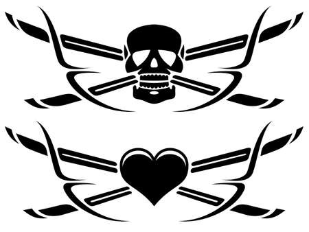 life and death tattoos Vector
