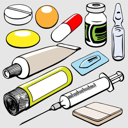suppository: medical objects set Illustration