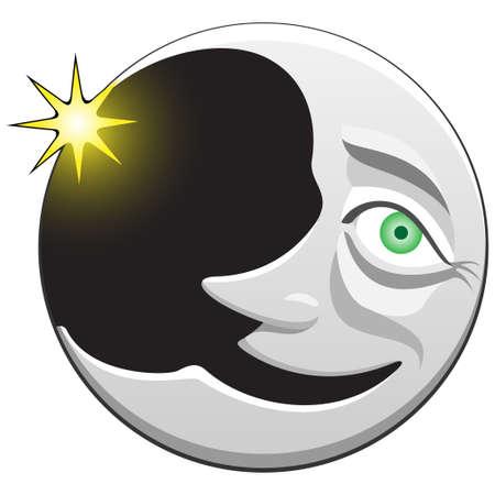star and crescent: sonriendo la luna Vectores