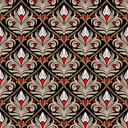 pink and brown background: damasc seamless pattern