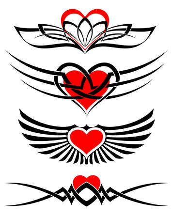heart tattoos Vector