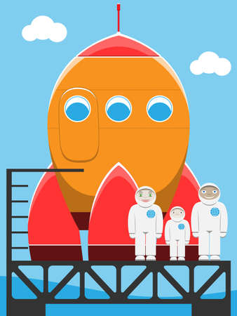 astronaut family at spaceport Stock Vector - 13543656