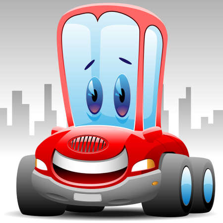 happy toon car Stock Vector - 13543655