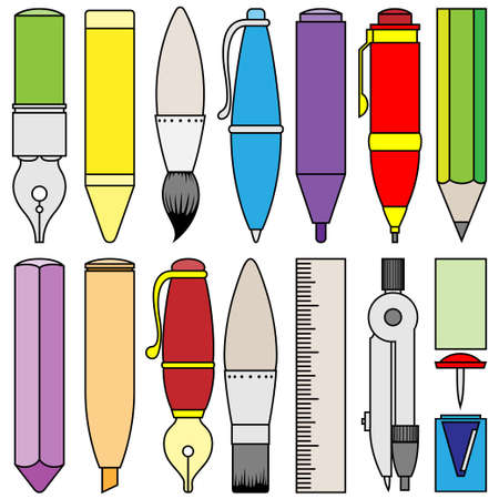 writing drawing and painting tools and accessory Stock Vector - 13543587