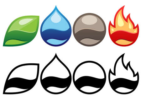 elemental badges Vector