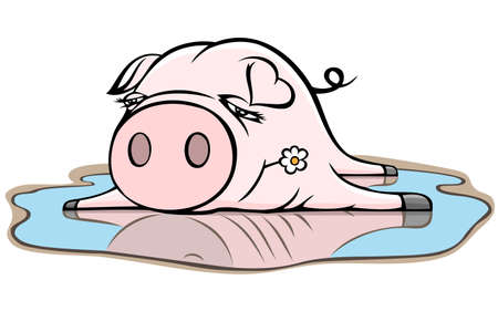 piggy in the puddle Vector