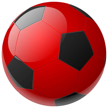 ballon foot: rouge un ballon de soccer isol�