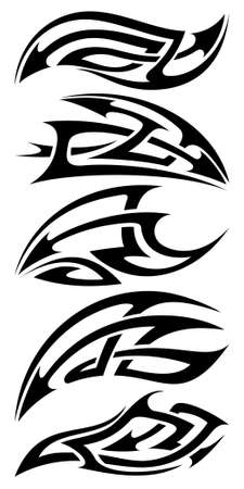 style: tribal tattoo set Illustration