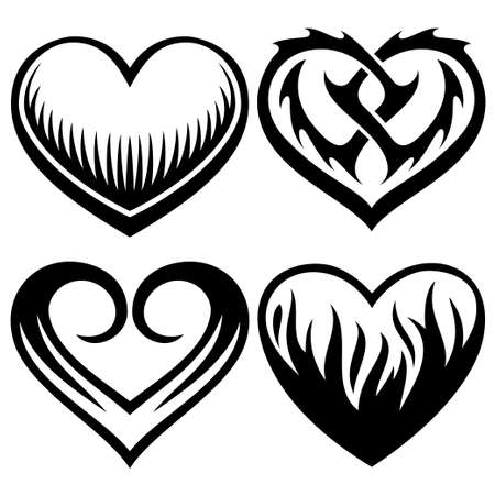 heart in flame: heart tattoos