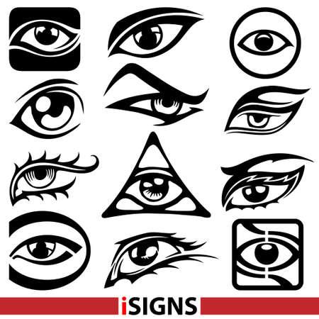 ojos: signos oculares Vectores