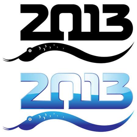 happy new year of snake 2013 metallic Stock Vector - 15238580