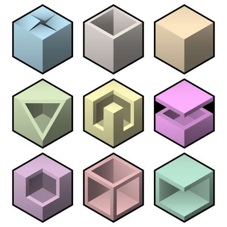 abstract cubes: boxes set