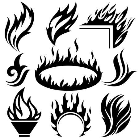 flames background: fire flame tattoo set