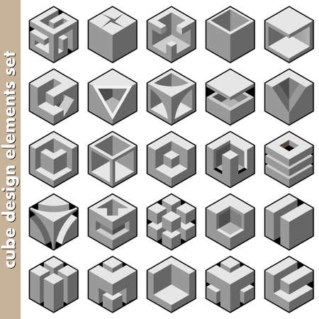 3d cube logo design pack Vector