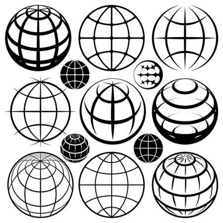 グローブ標識アイコンのロゴを設定  イラスト・ベクター素材