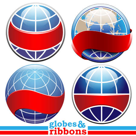 earth globes with ribbon for text set Çizim