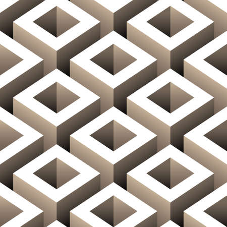 abstract boxes 3d seamless pattern Vector