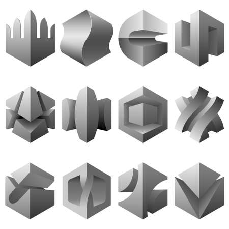 storage boxes: 3d abstract icons
