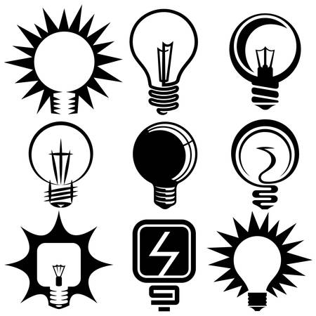 electric bulb symbols and icons set Çizim