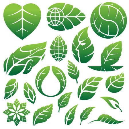 リーフ アイコンのロゴ、およびデザイン要素  イラスト・ベクター素材