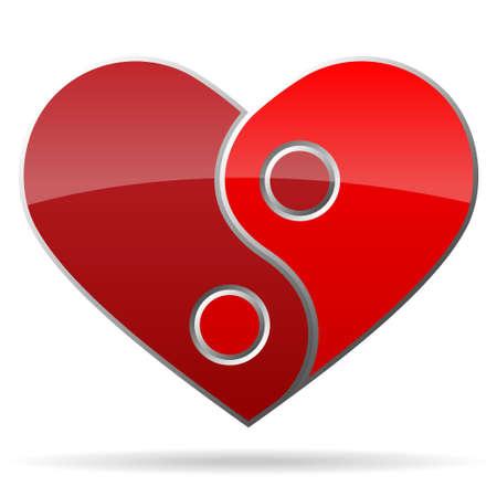 ying yang: ying yang shape heart Illustration